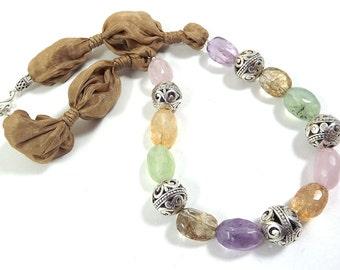 Golden Bohemian Artisan Silk Necklace with Multi Semi Precious Gemstones & Bold Ornate Filigree Beads - Fall Fashion