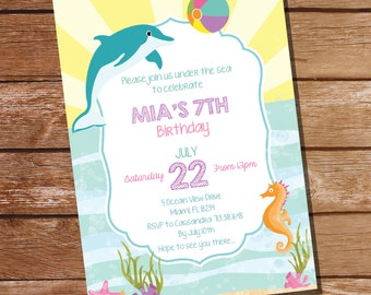 Dolphin/Under the Sea Party Invitation - Dolphin Party - Under The Sea - Instant Download and Editable File - Personalize with Adobe Reader