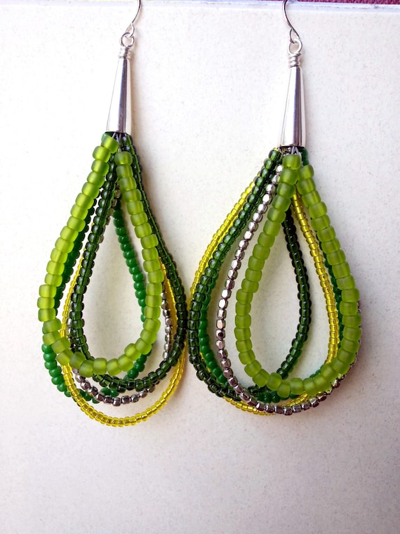 Long beaded green yellow and silver earrings