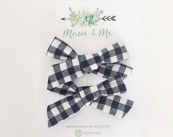 Black and Cream Gingham Pigtail Bows / Girls Hair Bows / Alligator Clip / No Slip Grip / Macie and Me / Pigtail Bows / Hand Tied