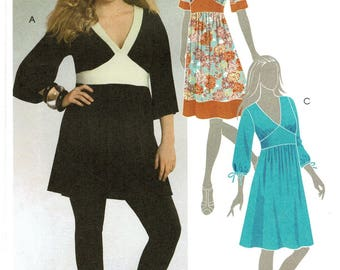 2000s McCalls M5435 EASY Misses Tunic Dress Women Sewing Pattern V-Neck Fitted bodice Flared skirt Size 8 10 12 14 Bust 31 to 36 New Uncut