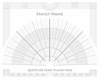 Custom Genealogy Fan Chart Family Tree Seven Generations Classical Design Customize with Family Name and Motto, Quote or Bible Verse 16 x 20
