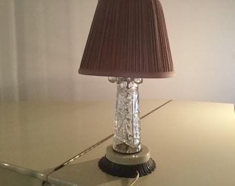 Crystal boudoir lamps pair
