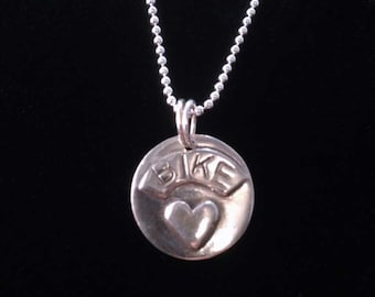 "Bicycle Jewelry - BIKE ""Heart"" Bike love pendant necklace"