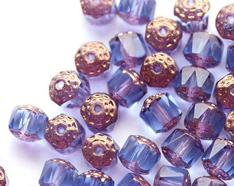 6mm Blue Purple Blue Cathedral beads, czech glass golden ends, round fire polished beads - 20Pc - 1061