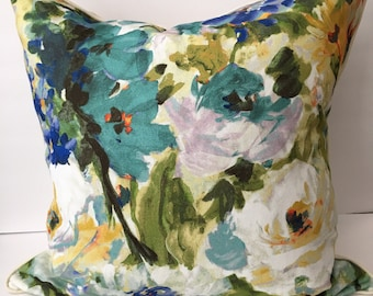 "Watercolor Floral Blue Green Cream 22"" Pillow with Insert"