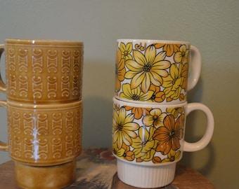 Vintage Stacking Mugs Made in Japan, set of 4