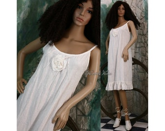 Hedi-White - Romantic Washed Linen Dress with Rose Applique and Frills Lagenlook Clothing