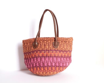 southwest LEATHER JUTE bag strap vintage bucket WOVEN bag