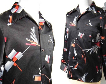 Vintage 70s Disco Shirt Mod Abstract Print by Mr. Jan - L