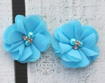 2 Pack Turquoise Pearl Rhinestone Chiffon Flowers, Fabric Flower, Craft Supplies, DIY Flower, DIY supplies, Embellishment