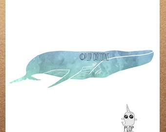 Whale Watercolor Art Print