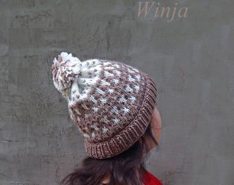 wool hat, knit hat women, slouchy beanie hat, winter hat, wool hat, hand knit hat, boho hat, chunky hat, knitted beret women's