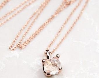 Fine Clear Quartz Pendant Necklace - Rose gold. Classic. Rose gold gemstone necklace. Rose gold quartz necklace. Elegant rose gold ne