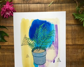 Abstract art print house plant, parlor palm, plant, watercolor painting, illustrated,  archival,  design