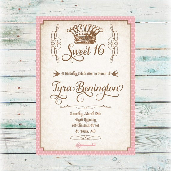 It's just an image of Unforgettable Sweet 16 Birthday Invitations Free Printable