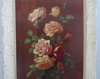Beautiful antique oil on Panel wood/box/roses/shabby bouquet