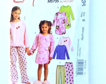 Easy Stitch 'N Save M5735, Girls' Pattern by McCalls, Girls' Top, Gown and Pants Pattern, Size 7 - 16, Uncut Pattern