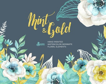 Mint & Gold. Watercolor separate floral Elements. Hand painted flowers Clipart, wedding diy elements, flowers, invite, gold glitter, mint