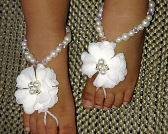 Baby Barefoot Sandals, Flower Girl Barefoot Sandals, Christening Sandals, Baby Shower Gift, Kids Barefoot Sandals, Baptism Sandals