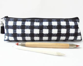 Art gifts, Large Gingham print, pencil pouch, brush bag, cosmetic pouch.