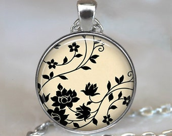 Swirling Black Flowers art pendant charm, flower pendant, flower necklace flower design jewelry black and white key chain key ring key fob