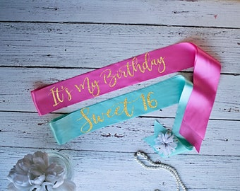Sweet 16 Sash, Birthday Sash, It's my Birthday Sash, Party Sashes, Birthday Accessories, Birthday Gift