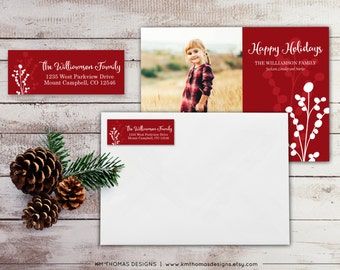 Berry Return Address Label: Personalized Holiday Return Address Label - Sticker - Rectangular Label - Printable Red Address Label - WH174