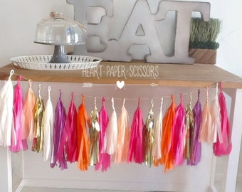 Tissue paper garland, tropical garland,pink and purple tassel, tropical fringe,luau party,Hawaiian party,birthday tassel garland, tassel