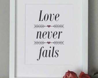 Love never fails  Word Art ready for framing ~ Wedding, Valentine, Anniversary ~ I Love You ~ 1 Corinthians 13:4-8