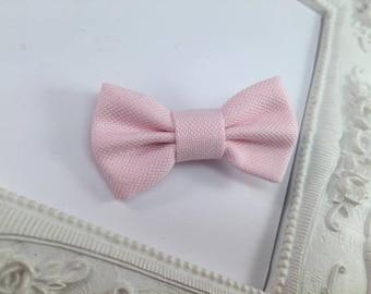 Fabric hair bow Barrette pink powder