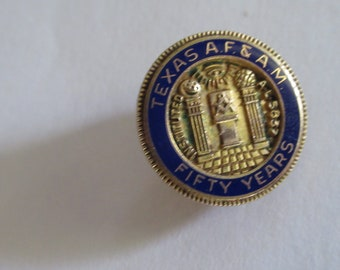 Masonic Texas 50 year lapel  or hat pin, screw on back vintage Masonic pin, Masonic pin