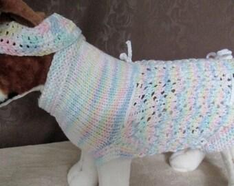 Custom Knit Dog Party Dress with Headband/Choker, Dog Party Costume with Headband/Choker - SMALL