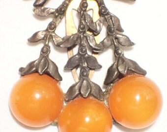 Butterscotch Fruits Berries on Branch Art Deco Dress Clip