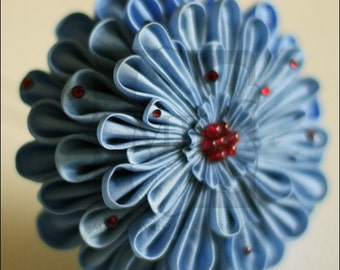 Large Blue Kanzashi Silk Flower Hairpin OOAK, Wedding, Kimono Kime Style, Formal, Prom, Homecoming, Offbeat - CLEARANCE
