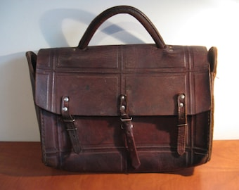 Old leather French hunting bag ...Years 30