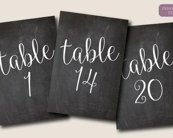 Chalkboard Table Numbers 1-20