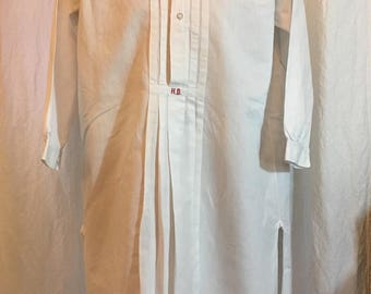 Antique Men's Shirt, HB Monogram, Early 20th C Pleat Front w/stand for Button-on Collar, White Cotton with Red embroidery, Hans Sander