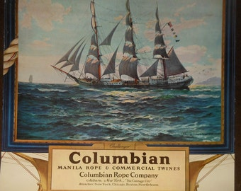 Vintage ca.1939 Columbian rope co. calendar ship the challenger signed