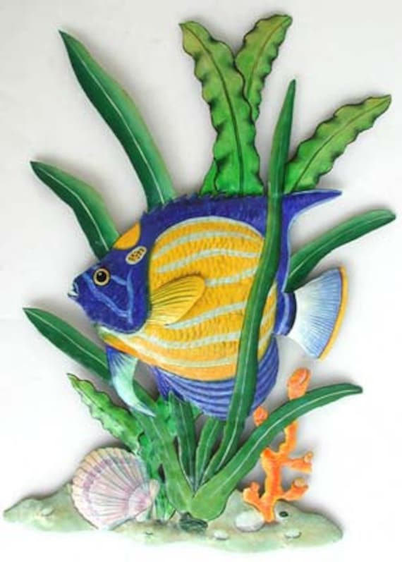 Tropical Fish Metal Wall Hanging Hand Painted Metal Art