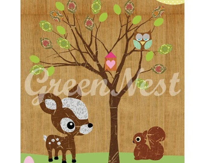 NEW A3 Size: Cute forest friends - Owl, Squirrel, Deery, Bee and Little Treehouse collage poster print
