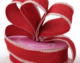 """INSTOCK....Vibrant Red and White soft Wired Edge 1.5"""" wide Ribbon.....NEW....for crafts, Florals, Wreaths, etc"""