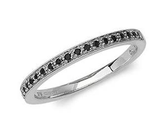 Black Eternity Diamond Wedding Band  Ring- Ideal For Her - Mom- Birthday