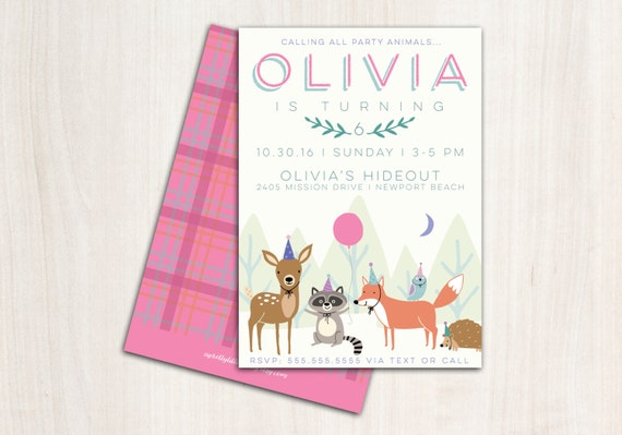 Woodland Pink Party Animals Invitation - Woodland Party Animals with Hats  - Printable Party Supplies