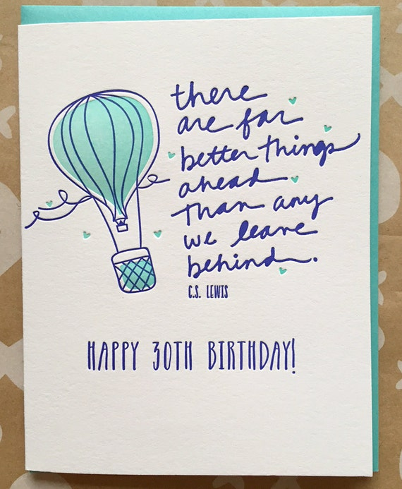 30 Funny Birthday Quotes: 30th Birthday Card Happy 30th Birthday CS Lewis Quote There
