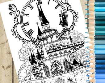 CINDERELLA CASTLE Adult Coloring Page – Cinderella Printable Coloring Page Fairy Tale Castle Coloring Page Adult Coloring Book Page DOWNLOAD
