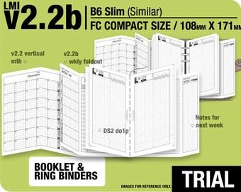 TRIAL [FC compact / B6 slim v2.2b w DS2 do1p] July to September 2018 - Filofax Inserts Refills Printable Binder Planner Midori.