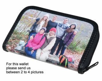 LARGE size custom zip wallet for women using pictures from you - FREE SHIPPING - gift gifts for mom girlfriend picture from me personalized