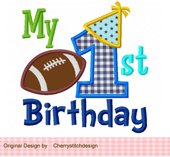 My 1st Birthday For Boys Applique 4x4 5x7 6x10-Machine