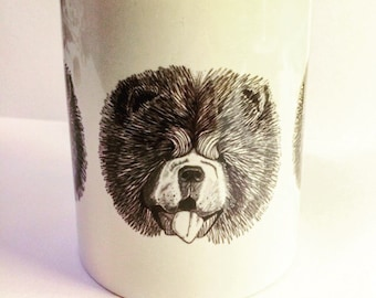 Black & White Illustrated Chow Chow Mug